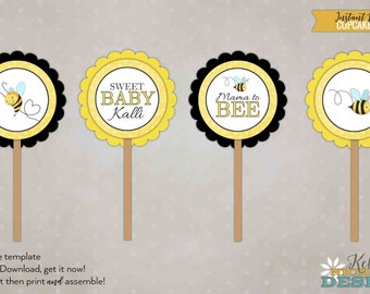 Bumble Bee Baby Shower Cupcake Topper Template, Mommy to Bee Decorations, DIY, Instant Download #S104