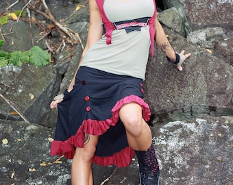 Eco SteamPunk -- Organic Button Ruffle SKIRT Red and Black S-L