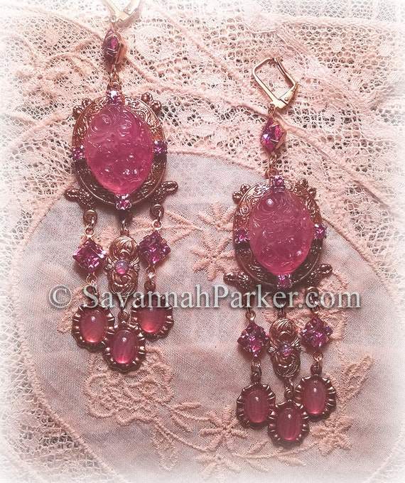 """Antique Style Victorian Edwardian Rose Carved Glass Chandelier Earrings - Vintage Czech Glass Stones -  3.25"""" long - READY TO SHIP"""