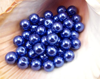 8mm Glass Pearls - Purplish Blue - 50 pieces