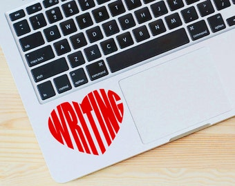 Decal | I love writing | heart sticker | gifts for writers | car decal | laptop sticker | window sticker | wall decal