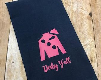 Black hand towel with pink Jockey Silk, Kentucky Derby hand towel, Derby decor