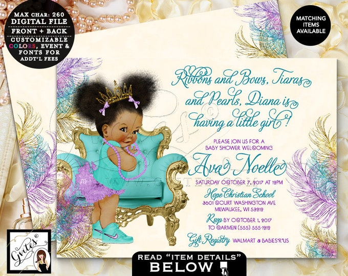Teal Purple and Gold Baby Shower Invitation, African American Princess, Ribbons bows tiaras & pearls, Afro Puffs 7x5 double sided. Gvites