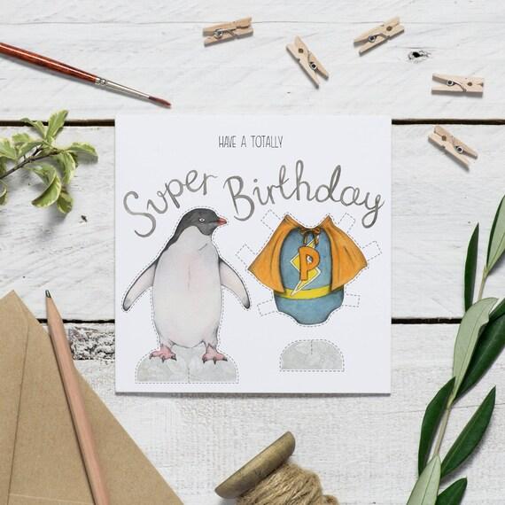 Penguin Birthday Card Superhero Card Animal Birthday Card