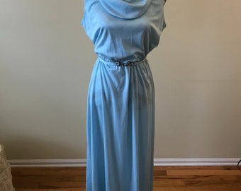 1970s maxi dress/ belted dress