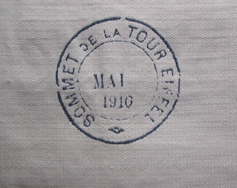 FRENCH MOTIF eiffel tower vintage stamp 26x26 NAVY pillow front /chair upholstery fabric square
