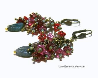 Gemstone Floral dangle Earrings, earrings, flower earrings, etsy earrings, gift for Mothers day, gift for her, beaded drop earrings