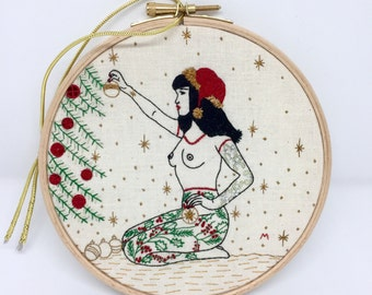 PDF Embroidery PATTERN The WINTER Tattooed Lady Digital Downloadable