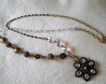 """Antique brass and crystal flower 2 """" dangle on 34"""" multi variety chain and connectors necklace No.90"""