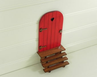 Fairy Door fairy garden miniature accessories hand crafted  wood red with brown hinges handmade  wooden stairs miniature key
