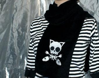 Kitty cat bones kitten Skull  goth Crossbones --  crazy cat lady -- Embroidered Scarf  Black MTCoffinz