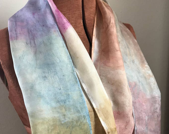 Handpainted naturally dyed silk scarf - unique, one of a kind, plant dyed eco friendly fashion 24