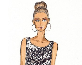 Carrie - Fashion Illustration Print - Brooke Hagel - SATC