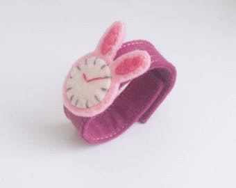 Pink bunny, Pink rabbit Felt Watch for baby and kids, play watch, toy watch