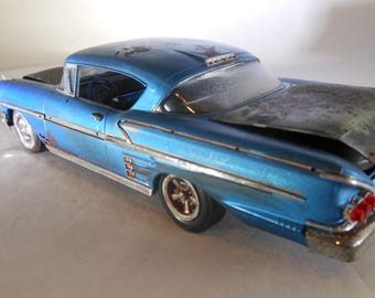 Chevy Impala,Blue Chevy,Rock and Roll,RustedWreck,Elvis Presley,Scale Model Car,Toy Car,Classicwrecks,Rat Rod