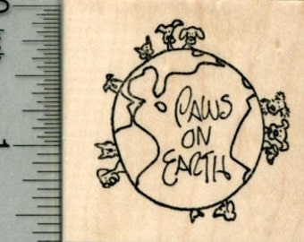 Paws on Earth Rubber Stamp, World Peace Pet Series, Dog, Cat E29616 Wood Mounted