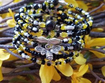 Unique Bee Charm Wrap Bracelet