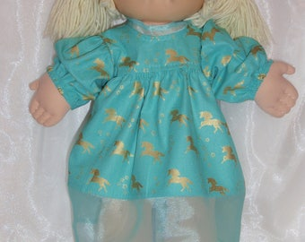 "Green and Gold Cotton Short Sleeve CP Dress With Unicorn Print, 16""-18"" Doll Clothes, Cabbage Patch Doll Clothes, Baby Alive Dress"