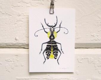 Black and Yellow Bug Print