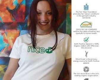 Fairtrade Frauen versehen Bio-T-Shirt, weiß, mittlere und große