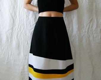 Color Block Skirt, A-line Midi Skirt, High Waist Skirt