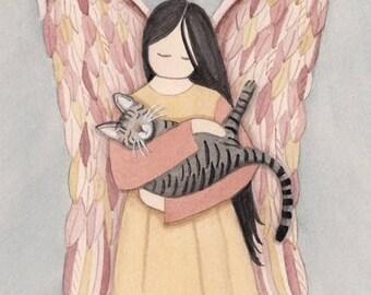 Gray tiger (tabby) cat with angel / Lynch signed folk art print