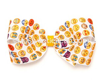 """Emoji Hair Bow, 5 inch Hair Bow, Printed Boutique Bow, Emoji Bow for Girls, Teens, Women, Texting Bow, Smiley Faces Bow, 5"""" Bow, Emoticons"""