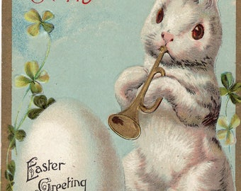 Vintage Easter vintage postcard; Easter Bunny Rabbit Playing trumpet, Happy Easter Greetings