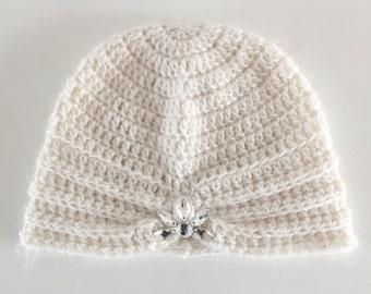 Crochet Cashmere/Mohair Turban with Swarovski Crystals, Women's
