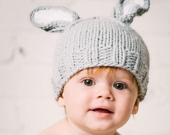 Bunny Hat Gray Hand Knit for Baby and Child