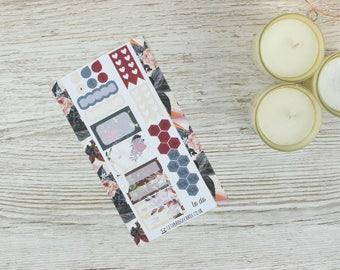 Dark Flowers Personal Planner Kit; Weekly Kit; TN Kit; Planner Stickers; Bullet Journal; Filofax; Mini Kit; Valentines Kit; Feb Weekly Kit