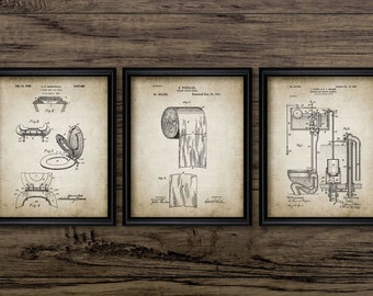 Bathroom Patent Print Set Of 3 - Toilet Roll - Cistern - Lavatory Design - Loo - Bathroom Art - Set Of Three Prints #1205 - INSTANT DOWNLOAD