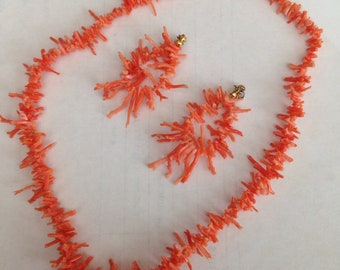 Coral branch necklace & earrings set