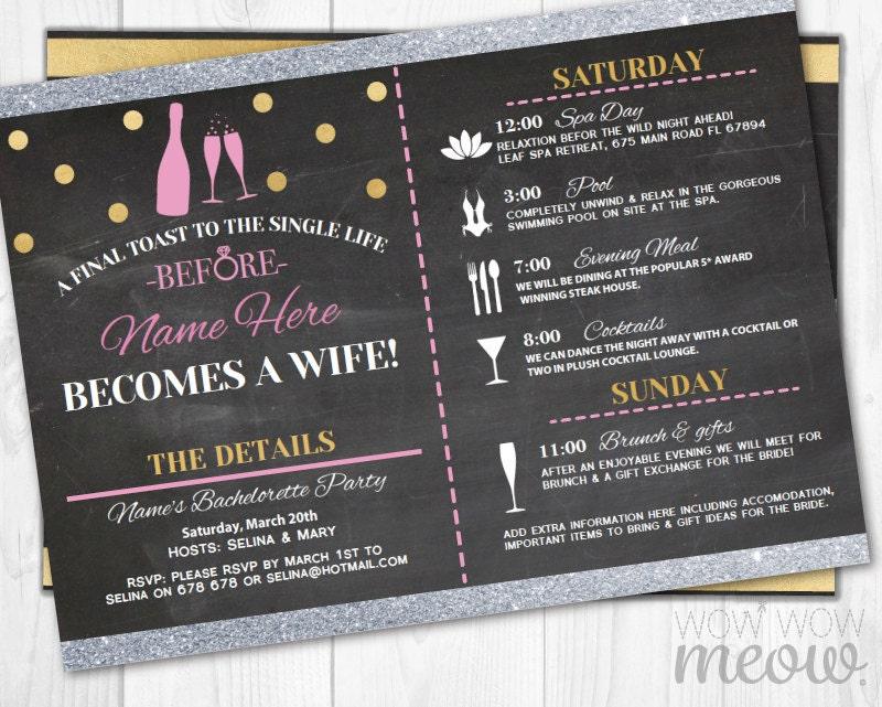 bridal shower bachelorette party invitation wording - Picture Ideas ...