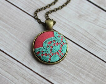 Colorful, Cute Necklace, Mint Coral Wedding, Round Small Pendant, Scalloped Lace, Unique Gift