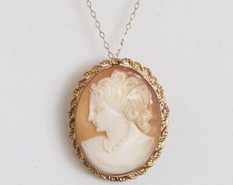 Vintage 12k Gold Filled GF Conch Shell Cameo Pendant Brooch Pin & Chain c1950s
