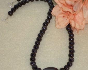 Black Sardonyx Gemstone Beaded Necklace  FREE SHIPPING