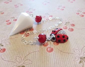 White Onyx Pendulum, Ladybug Charm, Sterling Chain, Red Glass Beads, Ladybug Pendulum, Good Luck Stone, ON HOLD Sandy