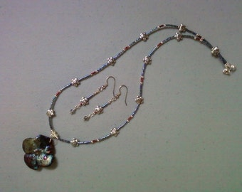 Multicolor Raku Flower Pendant and Earrings (0375)