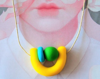 OOAK Handmade Polymer Clay Necklace - Guatemala Collection - Two bead U (SML)