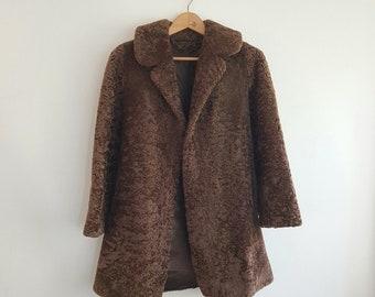 Vintage faux fur teddy shearling brown stunning coat UK XS / S