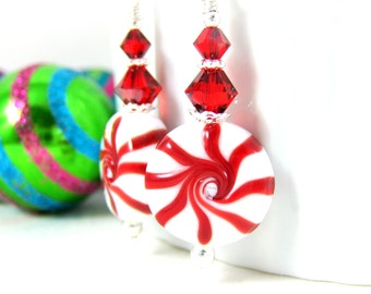 Christmas Earrings, Peppermint Earrings, Holiday Jewelry, Red White Candy Earrings, Lampwork Earrings, Fun Candy, Christmas Jewelry, GRJ