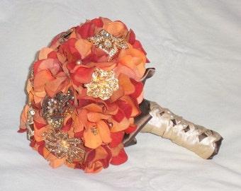 Autumn Bouquet - Keepsake Bouquet - Brooch Bouquet - Fall Bouquet - Crystal Bouquet - Wedding Bouquet - Bridal Bouquet - Deposit