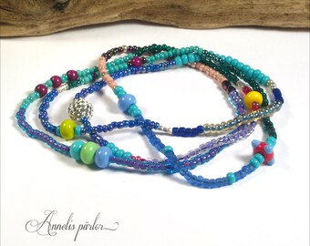 Colorful lampwork glass bead and seed bead necklace. Long fun multicolor beaded necklace, Boho Chic, OOAK, Artisan, SRA