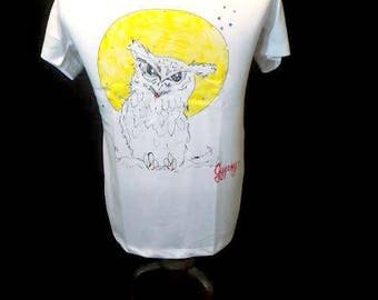 Owl and Moon handpainted t-shirt