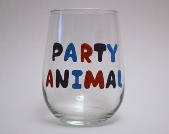 Party Animal, Hand-Painted, 17 oz, Stemless Wine Glass.