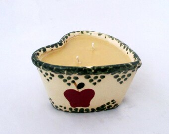 Caramel apple candle, large heart candle, rustic candle, soy candle, valentine candle, candle crock, scented soy candle, container candle