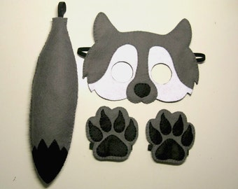 Wolf mask tail paws set for kids 2-10 years Grey White Black felt handmade forest animal costume - Dress up play - Theatre roleplay