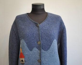 Vintage GIESSWEIN HANDMADE WOOL jacket , women's wool jacket , traditional folk wool jacket.............(700)