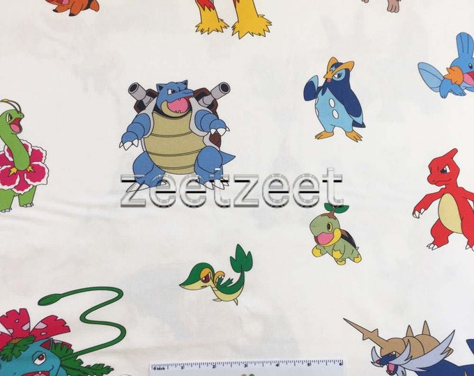 POKEMON WHITE All Over Toss Cotton Fabric by the Yard, Half Yd, or Fat Quarter Large Licensed Character Print Cartoon